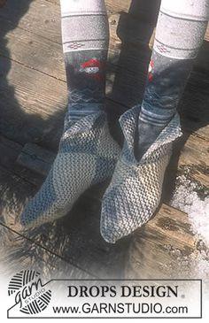 Chaussons DROPS au point mousse en Alaska ~ DROPS Design