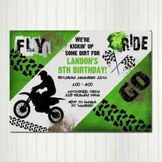 Free printable birthday invitation templates with dirt bikes kick up some dirt and get this party started invitation is 5 x 7 but can be re sized upon request important please leave your party details and any filmwisefo