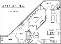 Unit A4 HC - 1 BR, 1 BA - 830 Net Sq.Ft.