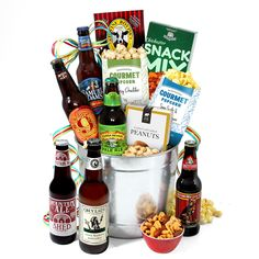 Popcorn Themed Gift Basket with nuts and beverages good for Movie Night, Game Night, Housewarming, Housewarming and more. Add gourmet salts and oils with fresh popcorn kernels (instead of bagged pre-popped) or homemade beer bread with cheeses and salamis. Gift Baskets For Men, Themed Gift Baskets, Wine Gift Baskets, Basket Gift, Food Baskets, Gifts For Beer Lovers, Beer Gifts, Lovers Gift, Chichester