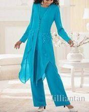 Viola blu chiffon madre della sposa abito pantaloni con lunghi  Giacca lady…