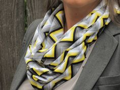 Chevron infinity scarf grey yellow white snood scarf - zig zag soft cotton jersey knit loop scarf - gift for girl, gift for mom by HappyScarvesByLesya on Etsy https://www.etsy.com/listing/166223114/chevron-infinity-scarf-grey-yellow-white