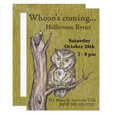 Owl Halloween Invite - rsvp gifts card cards diy unique special