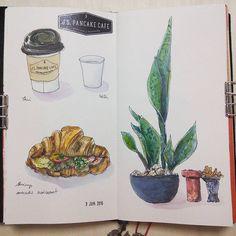 Delicious breakfast at J.S. Pancake Cafe (@foodies.journalstandard.jp) #sketchbook #sketching #drawing #watercolour #watercolor #水彩 #トラベラーズノート #イラストレーション #イラスト #スケッチ #travelersnotebook #illustration #food #foodillustration #painting #journaling...