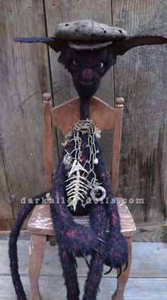Gothic Alley Cat Modest. Artist Mohair Cat. Artist Bear.