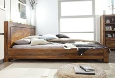 Palisander Holz massiv Bett 160x200 Sheesham Möbel METRO LIFE #136