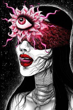 Third Eye Art Print by Vivian Volcano - X-Small Arte Horror, Horror Art, Trippy Drawings, Realistic Drawings, Art Drawings, Fantasy Drawings, Psychedelic Art, Tattoo Grafik, Arte Dope