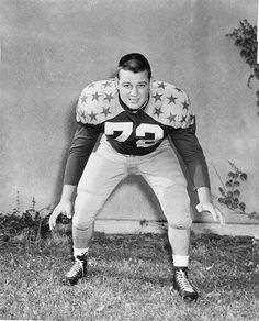 FILE - In this August 1956, handout photo, West Virginia tackle Sam Huff is shown. On Saturday, the 77-year-old Huff will be honored during the Mountaineers' NCAA college football game against James Madison. Sept. 15, 2012