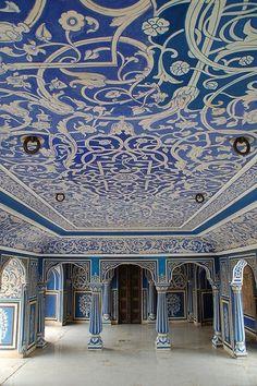 Salle bleu à Jaipur en Inde, à découvrir avec Inde en liberté