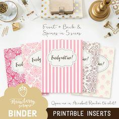 Printable binder inserts: PINK DAMASK 5x by StrawberryScraps