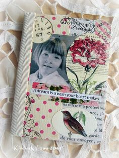 a dream is a wish your heart makes - pink - original mixed media collage notebook journal  - NO 639 cover - on Etsy.
