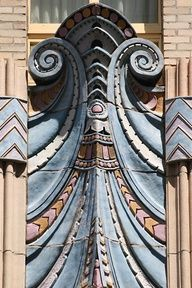 Closeup of the Art Deco details of the Market Street National Bank building (Philadelphia)