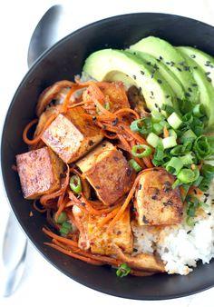 Korean Tofu & Shiitake Mushroom Rice Bowl recipe by SeasonWithSpice.com