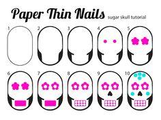 paper thin nails: Sugar Skull Nails + Tutorial