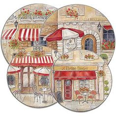 ELECTRIC STOVE TOP RANGE ROUND PARIS CAFE DESIGN BURNER COVERS SET 4