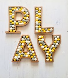 Felt Ball / Pompom 'PLAY' letters. 20cm Fully | Etsy Painting Wooden Letters, Laser Cut Mdf, Felt Ball Garland, Flower Letters, Types Of Lettering, Letter Wall, Handmade Felt, Felt Flowers, Playroom