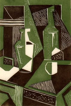 2 colour relief print Cubist-still-life-with-bottles-by-Maurice-Warner. Cubist Paintings, Cubism Art, Still Life Drawing, Still Life Art, Picasso Still Life, Georges Braque, Henri Matisse, High School Art Projects, Rene Magritte
