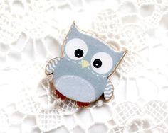 Grey Owl brooch - Wooden brooch - Animal brooch - Owl Illustration - Woodland by VisitingCINDERELLA on Etsy https://www.etsy.com/listing/160762599/grey-owl-brooch-wooden-brooch-animal