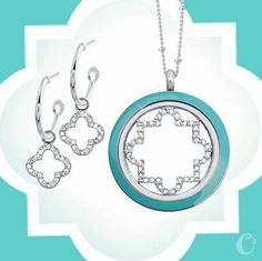 What's your mom's favorite accessory? Earrings and Origami Owl Twist Locket with Teal enamel face.