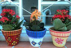 Vasos de barro pintados a mão