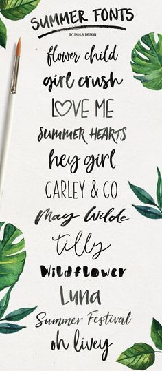 12 handwritten, summer brush fonts!  These are pretyy cute, fun & fresh and perfect for your designs!