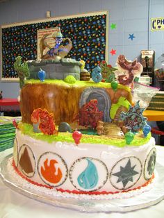 Another picture of my son's 6th bday cake - skylanders theme...all edible except LED lights under the fondant portal layer to make it light up like the real game does...