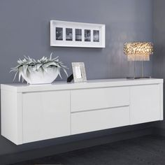Buffet bahut suspendu blanc laqué design TYLER