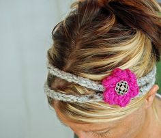 KNITTED HEADBAND - HAIRBANDs with flower -hair band - button closure - Perfect accessory - fall winter holiday fasion.