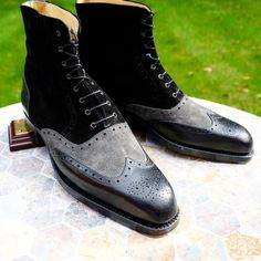 Handmade men,s Black Grey Lace up ankle boots, Men Suede and leather ankle boots - Boots
