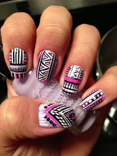 Tribal nails   See more nail designs at http://www.nailsss.com/nail-styles-2014/