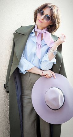 lilac scarf | river island lilac floppy hat | chloe round sunglasses | khaki outfit | military coat | spring outfit ideas | galant girl | ellena galant