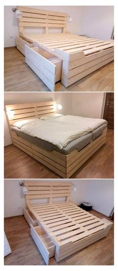 Pallet Furniture Designs, Pallet Designs, Furniture Projects, Furniture Decor, Pallet Bedroom Furniture, Recycled Pallet Furniture, Palette Furniture, Wooden Furniture, Furniture Plans