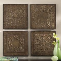 Set of 4 Embossed Plaques