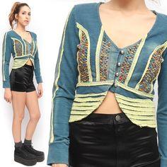 Freda Five Embelished Knit Boho Beaded Cropped Cotton Blue Yellow Jacket | eBay