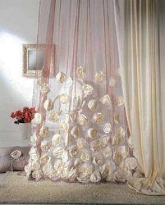 Cortinas de organza decorado con flores