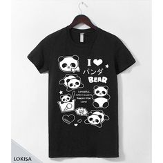I Love Panda Bear Ponya T-Shirt (€23) ❤ liked on Polyvore featuring tops, t-shirts, panda bear t shirt, cotton t shirts, unisex t shirts, panda tee and i heart t shirts