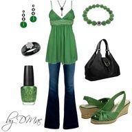 bluejeans, emerald green top, shoes, black purse