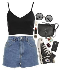 """""""Front Row"""" by vogue-breakfast ❤ liked on Polyvore featuring Converse, Topshop, The Row, Essie and Incase"""