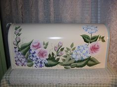 Hand Painted Mailbox with Roses and Hydrangea on White b/g