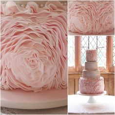 Blush Pink Ruffles Wedding Cake