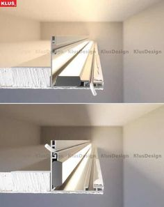 The NISA-NI extrusion is mounted on the edge of the recess. Once sealed, it forms a thin aesthetic edge. Vertical and horizontal mounting of the lighting fixture are possible. Cove Lighting Ceiling, Stair Lighting, Indirect Lighting, Linear Lighting, Home Ceiling, Interior Lighting, Home Lighting, Led Light Design, Ceiling Light Design