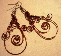 Copper Wire Vine Earrings by Kaingud Arts and Crafts Facebook Page: www.facebook.com/kaingud  Sold @ 15 USD Shipping fee included.