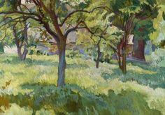 Stanisław Kamocki 1875-1944 (Polish), Orchard, oil on plywood