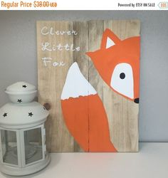 On SALE Clever little fox sign fox nursery por AmbersWoodenBoutique