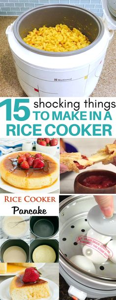 15 Surprising Things You Can Cook in a Rice Cooker If you are using your rice cooker just for rice, then you are missing out. Did you know you can make mac & cheese, jambalaya, pancakes, pasta and many tasty dishes in a rice cooker? Aroma Rice Cooker, Rice Cooker Recipes, Pressure Cooker Recipes, Crockpot Recipes, Perfect Cooker Recipes, Crockpot Dishes, Casserole Recipes, Quick Dinner Recipes, Breakfast Recipes