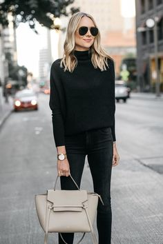Read more The post Fashion Jackson Bloomingdales Grey Cashmere Mock Neck Sweater Black Skinny Jeans… appeared first on How To Be Trendy. Grey Sweater Outfit, Pullover Outfit, Sweater Fashion, Black Jeans Outfit Winter, Winter Sweater Outfits, Fashion Vest, Fashion Scarves, Fashion Boots, Black Women Fashion