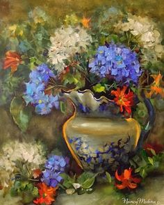 Artists Of Texas Contemporary Paintings and Art - St. Louis Blues Hydrangeas and a Rockwall, Texas Workshop by Floral Artist Nancy Medina
