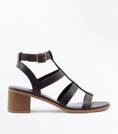 fce9adeaa32 Black Low Block Heel Gladiator Sandals