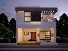 Elevation for small house elevation for home design house front Design Garage, House Front Design, Exterior Design, Exterior Paint, Stone House Plans, Modern House Floor Plans, Front Elevation Designs, House Elevation, Building Elevation