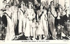 The Queen and the members of the Royal Family at her Coronation